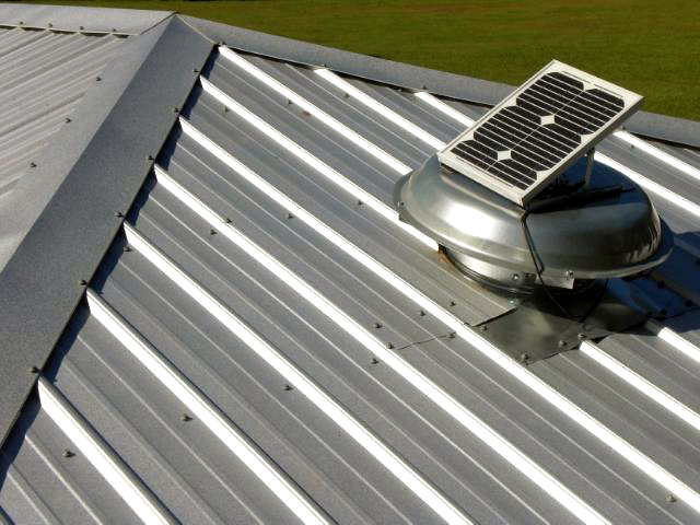 Solar Powered Attic Fans on metal roof